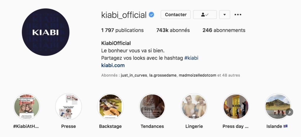 Lance sa marque sur Instagram exemple bulles Kiabi